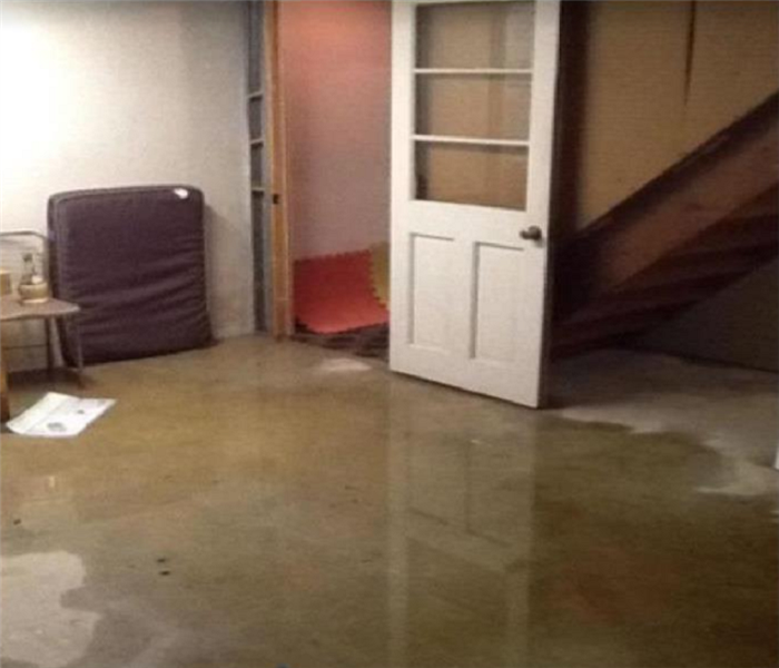 Water on floor, water damaging belongings